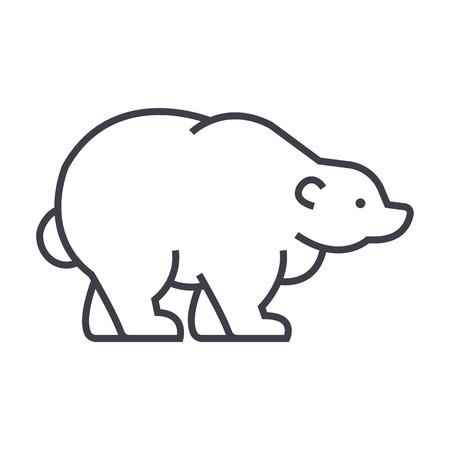 러시아 곰 벡터 선 아이콘, 기호, 흰색 배경에 그림 편집 가능한 획