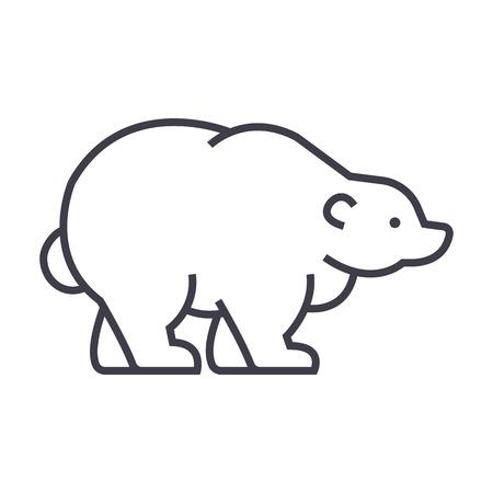 russian bear vector line icon, sign, illustration on white background, editable strokes
