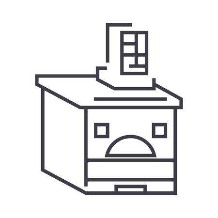 Russische oven vector lijn pictogram, teken, illustratie op witte achtergrond, bewerkbare lijnen