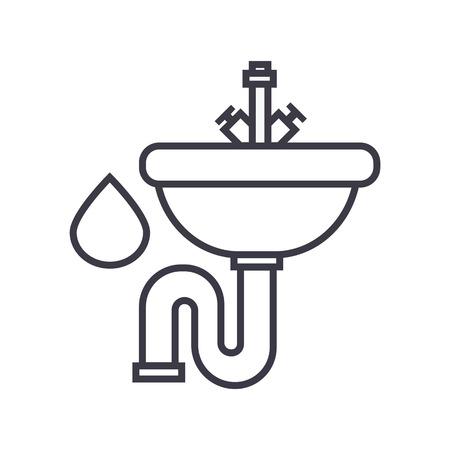 Sink line icon, sign, illustration on white background, editable strokes Illustration