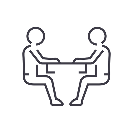 白い背景に、編集可能なストロークの男性、会話行アイコン、記号、イラストを座っています。  イラスト・ベクター素材