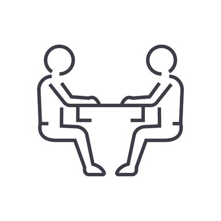 앉아 남자, 대화 선 아이콘, 기호, 흰색 배경에 그림 편집 가능한 획