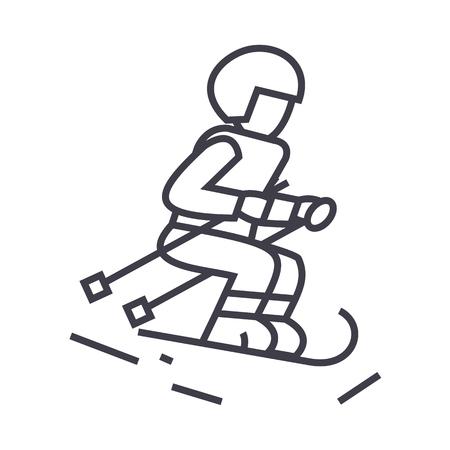 Skiër lijn pictogram, teken, illustratie op witte achtergrond, bewerkbare lijnen