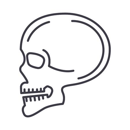 De zijpictogram van de schedel zijvooraanzicht, teken, illustratie op witte achtergrond, editable slagen Stock Illustratie