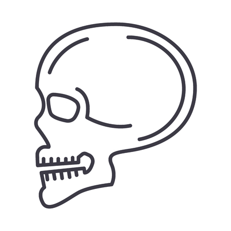 Skull side front view line icon, sign, illustration on white background, editable strokes