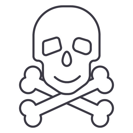 Skull with bones line icon, sign, illustration on white background, editable strokes Illustration
