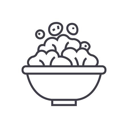 サラダ ボウル ライン アイコン、記号、白い背景に、編集可能なストロークの図  イラスト・ベクター素材