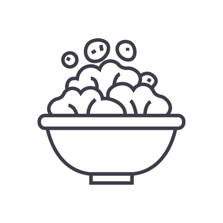 Salad bowl line icon, sign, illustration on white background, editable strokes