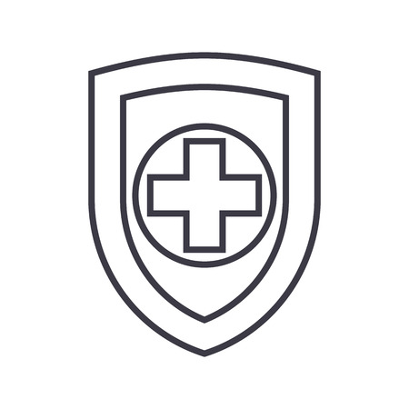 Shield, safequard line icon, sign, illustration on white background, editable strokes