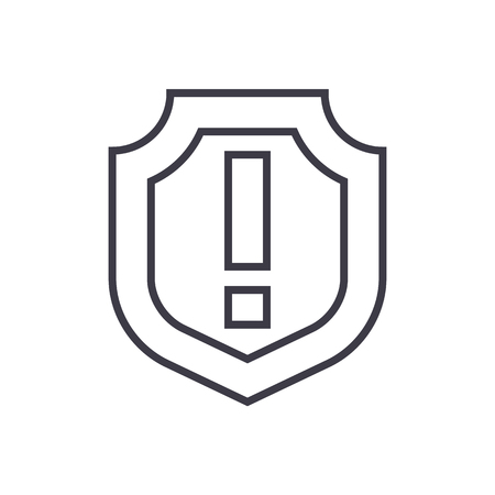 Shield,important line icon, sign, illustration on white background, editable strokes Stok Fotoğraf - 87265880