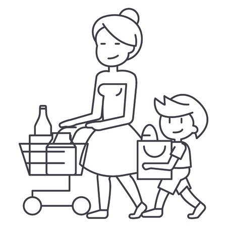child sitting: Shopping grocery,mother with son and shopping cart line icon, sign, illustration on white background, editable strokes Illustration