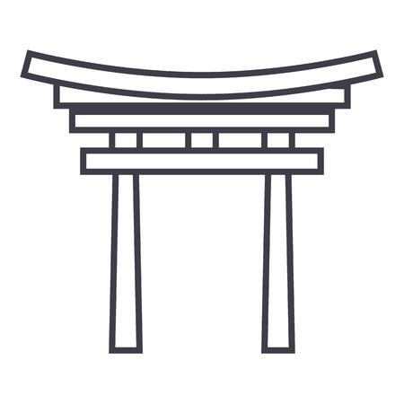 Shinto line icon, sign, illustration on white background, editable strokes Иллюстрация