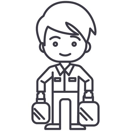 Shopping homme prenant les sacs icône de la ligne, signe, illustration sur fond blanc, traits modifiables Banque d'images - 87265886