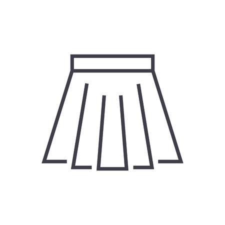 短いスカート ライン アイコン、記号、白い背景に、編集可能なストロークの図