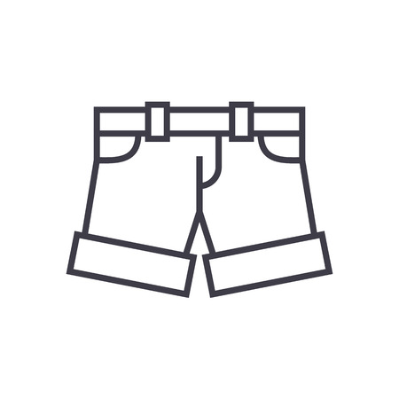 ショート パンツ、ライン アイコン、記号、白い背景に、編集可能なストロークの図  イラスト・ベクター素材