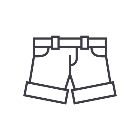 반바지, 라인 아이콘, 기호, 흰색 배경에 그림 편집 가능한 획