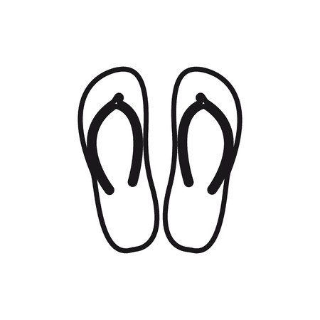Slippers line icon, sign, illustration on white background, editable strokes Çizim