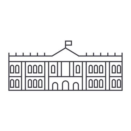 エルミタージュ博物館ベクトル線アイコン、記号、白い背景に、編集可能なストロークの図