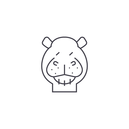 hippo vector line icon, sign, illustration on white background, editable strokes