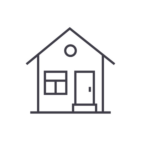 house with door vector line icon, sign, illustration on white background, editable strokes