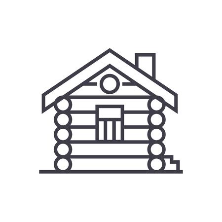 家、小屋、木の家ベクトル線アイコン、記号、白い背景に、編集可能なストロークの図