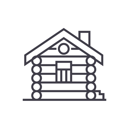 house,cabin,wood house vector line icon, sign, illustration on white background, editable strokes