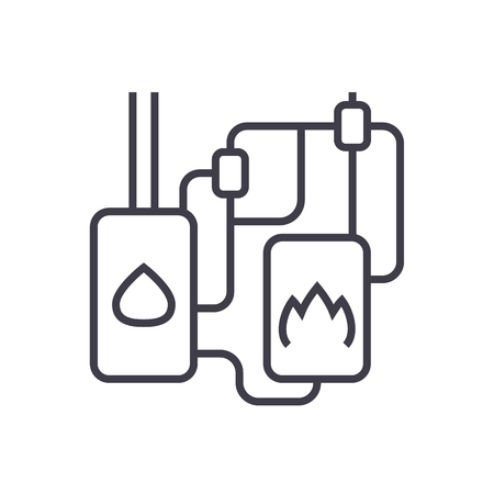 heating system vector line icon, sign, illustration on white background, editable strokes Stock Vector - 87284807