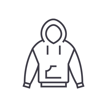 hoodie vector line icon, sign, illustration on white background, editable strokes