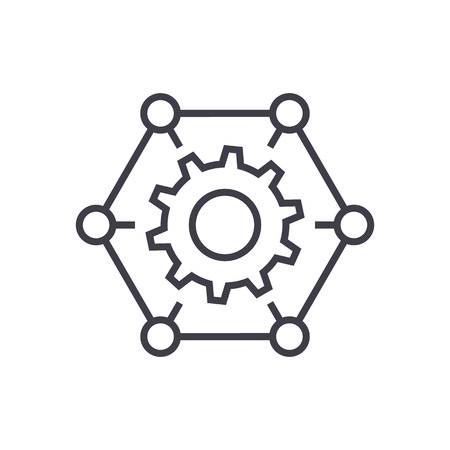 how it works,gears, settings vector line icon, sign, illustration on white background, editable strokes 向量圖像