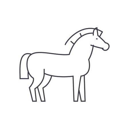 horse vector line icon, sign, illustration on white background, editable strokes Illustration
