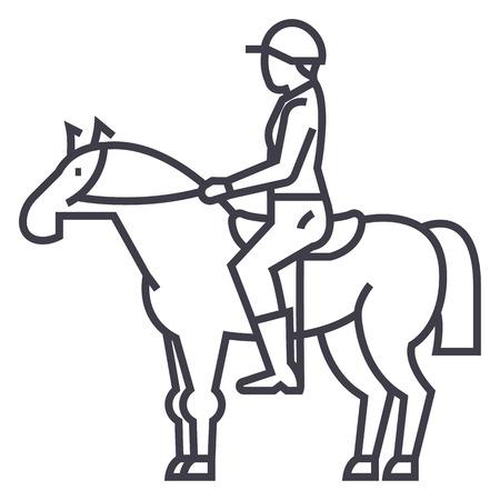 말 레이싱, 라이더, 기병, 자키 벡터 라인 아이콘, 기호, 흰색 배경에 그림 편집 가능한 획