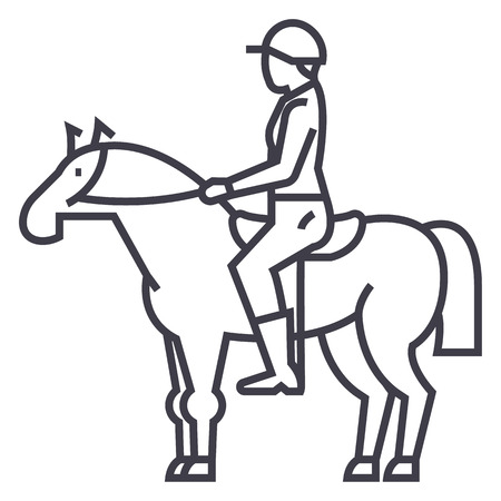Course de chevaux, cavalier, cavalier, icône de ligne vecteur jockey, signe, illustration sur fond blanc, coups modifiables Banque d'images - 87284818