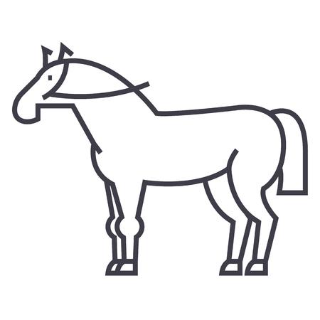 horse sign vector line icon, sign, illustration on white background, editable strokes Çizim