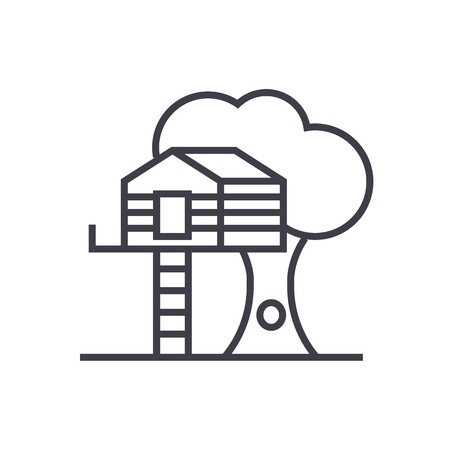 residential homes: house on tree vector line icon, sign, illustration on white background, editable strokes