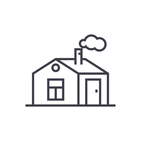 house with chimney vector line icon, sign, illustration on white background, editable strokes