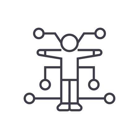 human analysis vector line icon, sign, illustration on white background, editable strokes Illustration