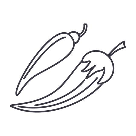 고추 벡터 라인 아이콘, 기호, 흰색 배경에 그림 편집 가능한 획 일러스트