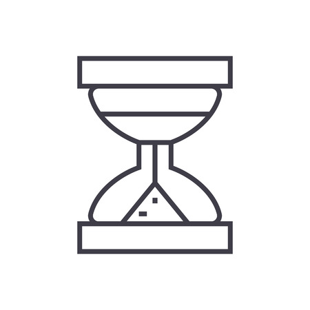 hourglass vector line icon, sign, illustration on white background, editable strokes Çizim