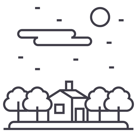 residential homes: house in forest vector line icon, sign, illustration on white background, editable strokes Illustration