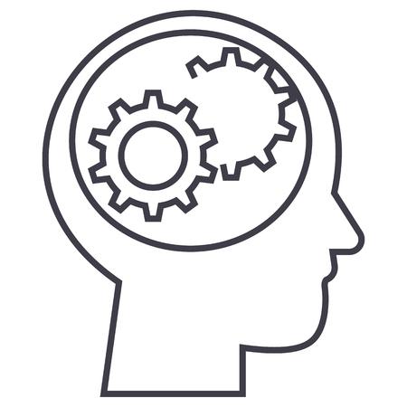 menselijk hoofd met versnellingen vector lijn pictogram, teken, illustratie op witte achtergrond, bewerkbare lijnen Stock Illustratie