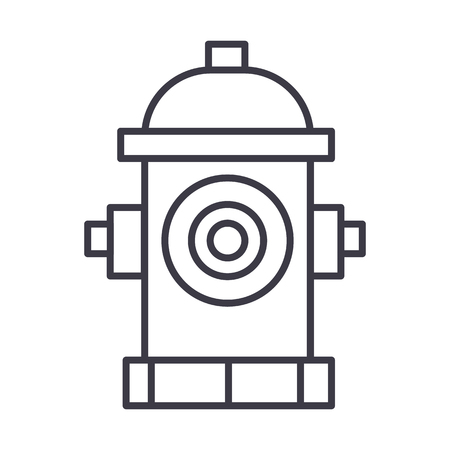 hydrant vector line icon, sign, illustration on white background, editable strokes Illustration