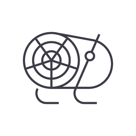 industrial fan, heater vector line icon, sign, illustration on white background, editable strokes