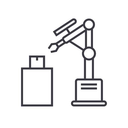 産業用レーザーロボットベクトルラインアイコン, 記号, 白の背景にイラスト, 編集可能なストローク