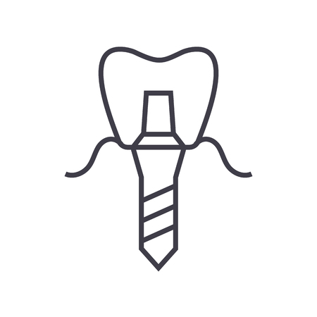 implanted tooth,denture implant vector line icon, sign, illustration on white background, editable strokes 向量圖像