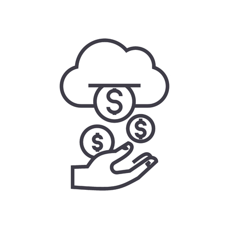 income,passive stream,money vector line icon, sign, illustration on white background, editable strokes Illustration