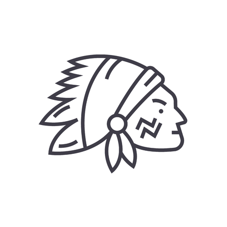 indian head vector line icon, sign, illustration on white background, editable strokes