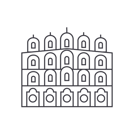 indian temple vector line icon, sign, illustration on white background, editable strokes