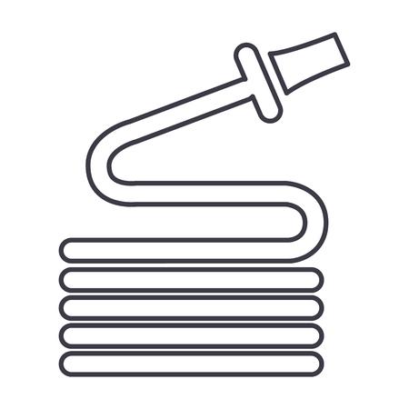 slang vector lijn pictogram, teken, illustratie op witte achtergrond, bewerkbare lijnen Stock Illustratie