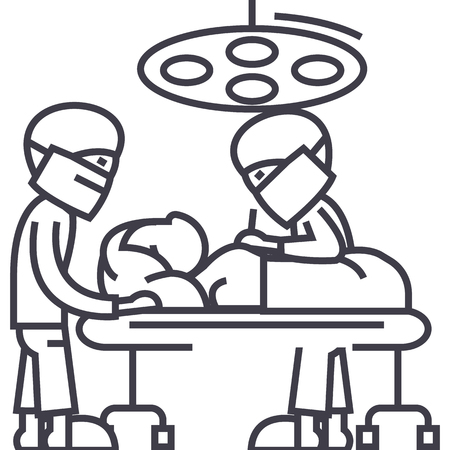 hospital room with doctors,surgery operation vector line icon, sign, illustration on white background, editable strokes
