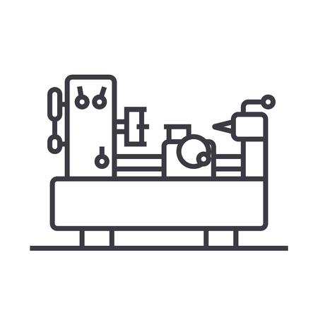 산업 기계 장비 벡터 라인 아이콘, 기호, 흰색 배경에 그림 편집 가능한 획 일러스트